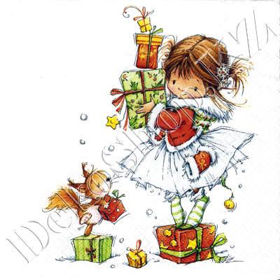 Открытка девочка с подарком 228